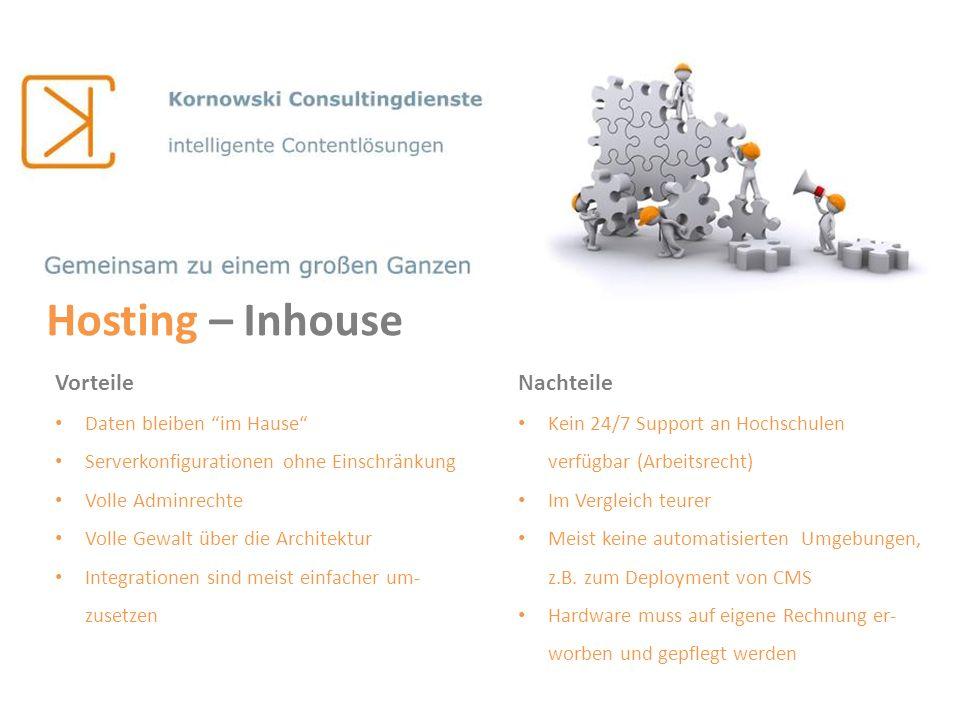 Hosting – Inhouse Vorteile Daten bleiben im Hause Serverkonfigurationen ohne Einschränkung Volle Adminrechte Volle Gewalt über die Architektur Integra