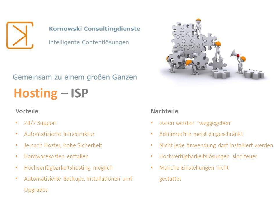 Hosting – ISP Vorteile 24/7 Support Automatisierte Infrastruktur Je nach Hoster, hohe Sicherheit Hardwarekosten entfallen Hochverfügbarkeitshosting mö