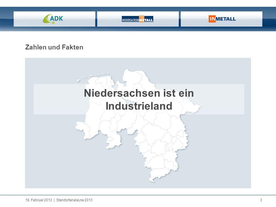 18. Februar 2013 | Standortanalayse 2013 3 Zahlen und Fakten Niedersachsen ist ein Industrieland