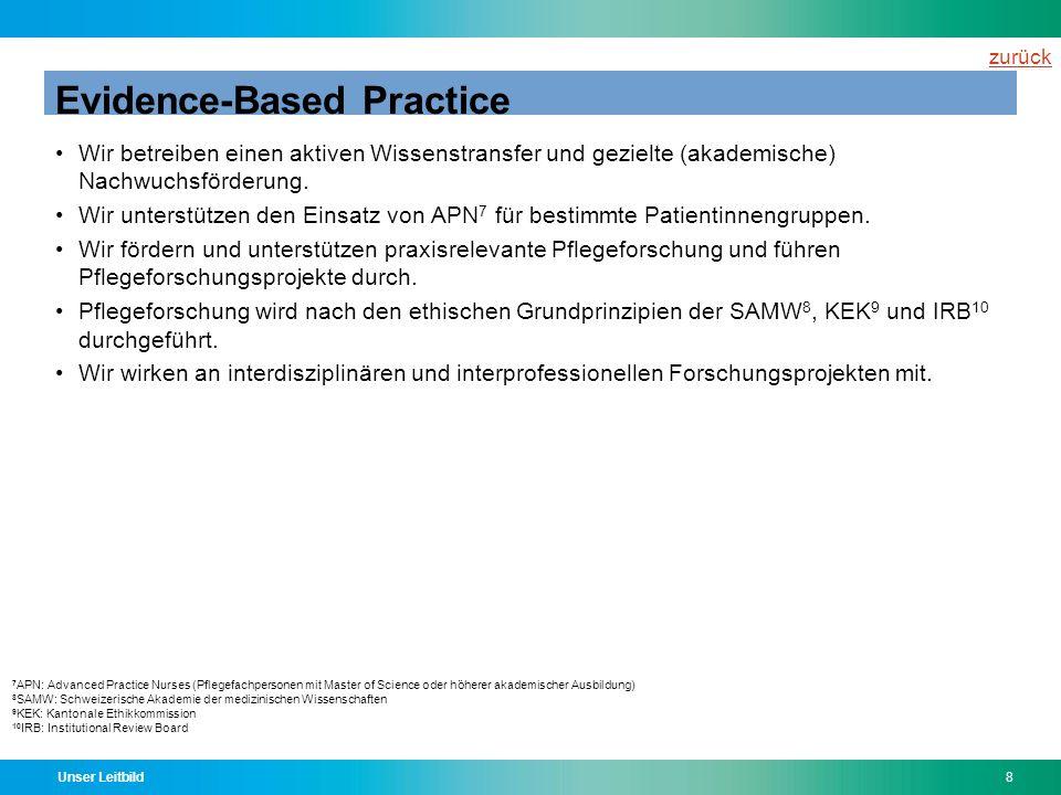 Unser Leitbild8 Evidence-Based Practice Wir betreiben einen aktiven Wissenstransfer und gezielte (akademische) Nachwuchsförderung. Wir unterstützen de