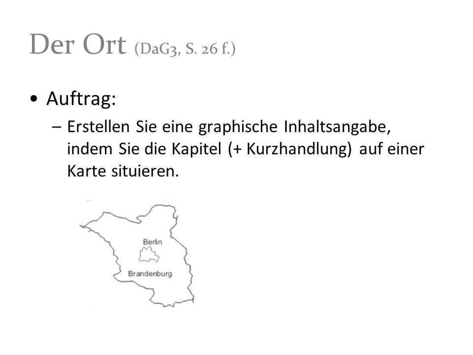 Der Ort (DaG3, S. 26 f.) Auftrag: –Erstellen Sie eine graphische Inhaltsangabe, indem Sie die Kapitel (+ Kurzhandlung) auf einer Karte situieren.
