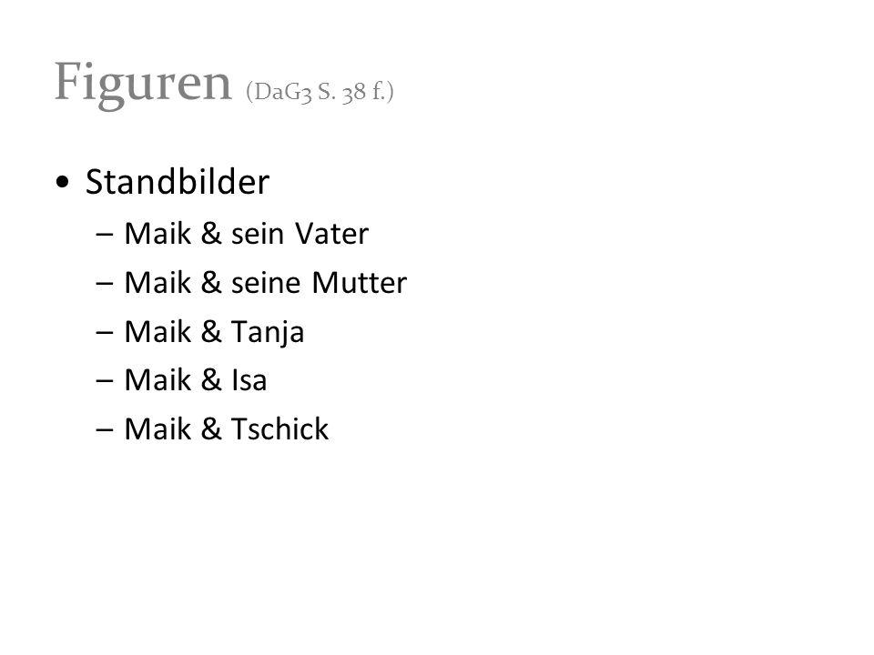 Figuren (DaG3 S. 38 f.) Standbilder –Maik & sein Vater –Maik & seine Mutter –Maik & Tanja –Maik & Isa –Maik & Tschick