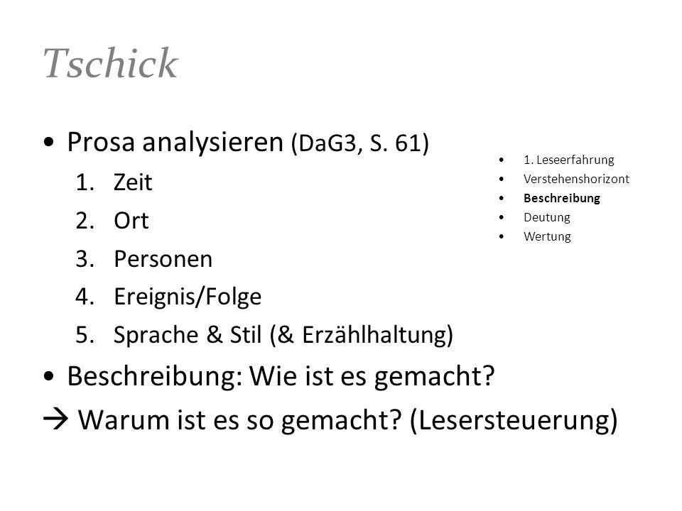 Tschick Prosa analysieren (DaG3, S. 61) 1.Zeit 2.Ort 3.Personen 4.Ereignis/Folge 5.Sprache & Stil (& Erzählhaltung) Beschreibung: Wie ist es gemacht?