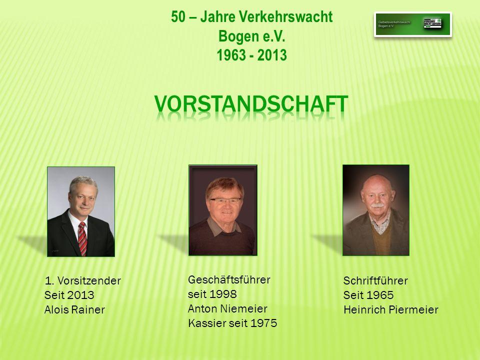 50 – Jahre Verkehrswacht Bogen e.V. 1963 - 2013 Geschäftsführer seit 1998 Anton Niemeier Kassier seit 1975 1. Vorsitzender Seit 2013 Alois Rainer Schr