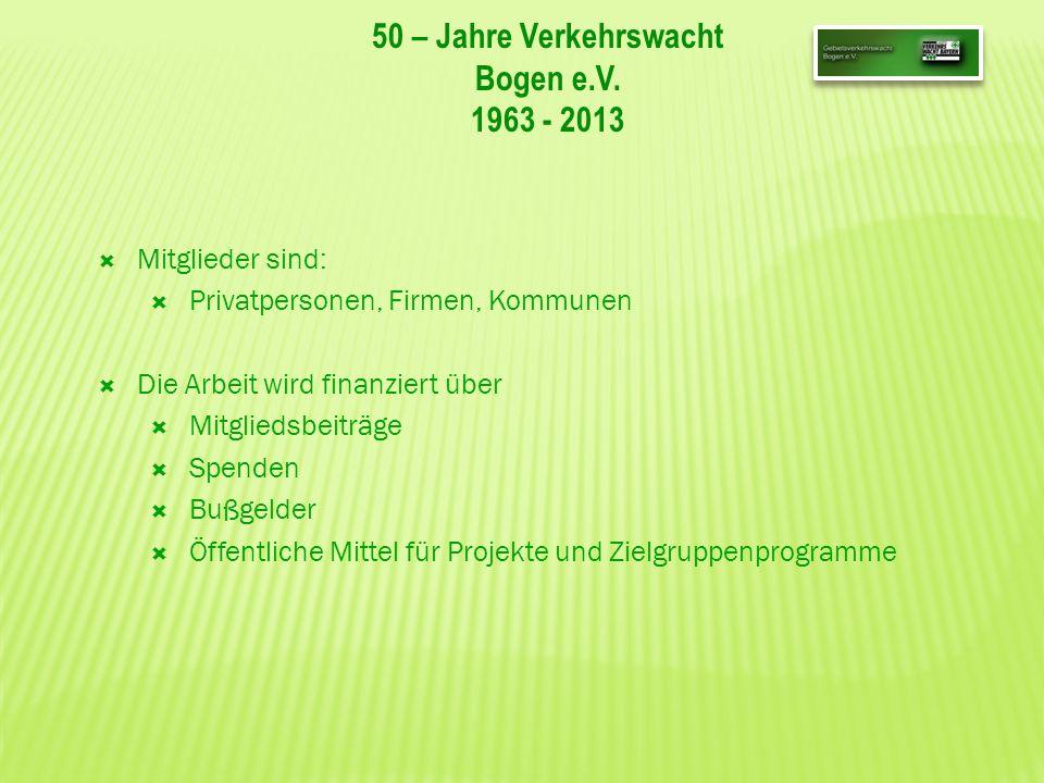 50 – Jahre Verkehrswacht Bogen e.V. 1963 - 2013 Mitglieder sind: Privatpersonen, Firmen, Kommunen Die Arbeit wird finanziert über Mitgliedsbeiträge Sp