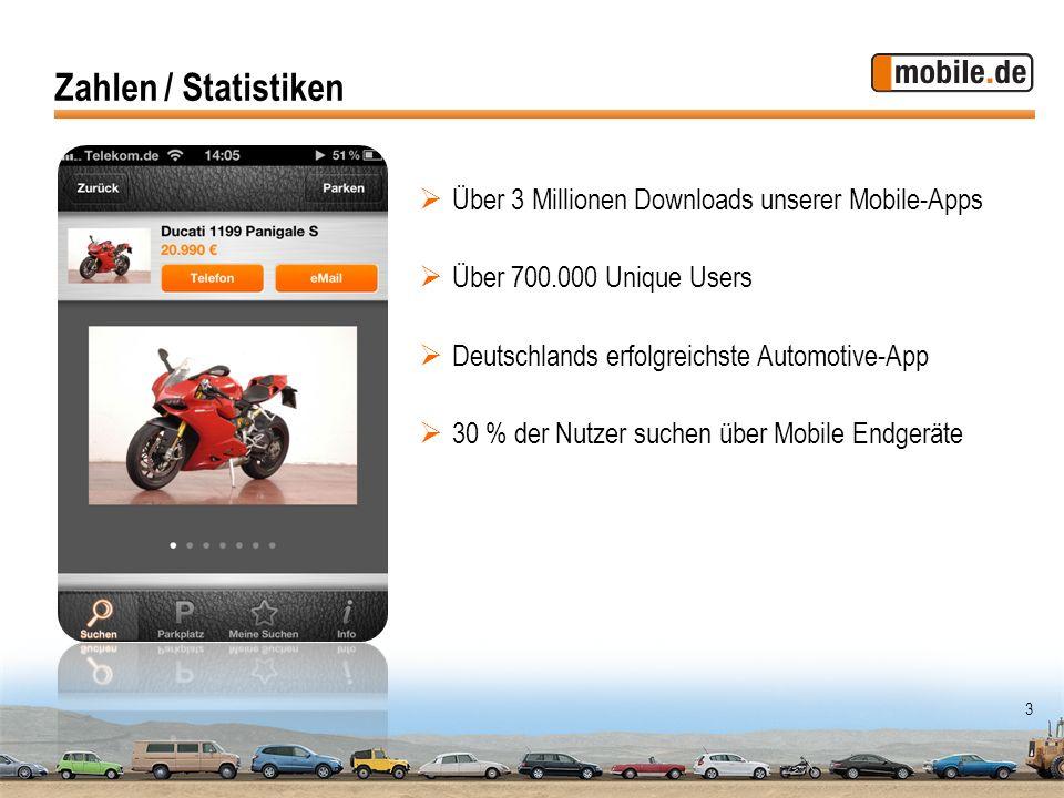 3 Zahlen / Statistiken Über 3 Millionen Downloads unserer Mobile-Apps Über 700.000 Unique Users Deutschlands erfolgreichste Automotive-App 30 % der Nu