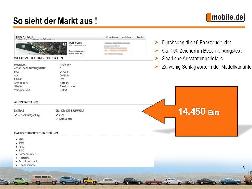 8 Durchschnittlich 6 Fahrzeugbilder Ca. 400 Zeichen im Beschreibungstext Spärliche Ausstattungsdetails Zu wenig Schlagworte in der Modellvariante So s