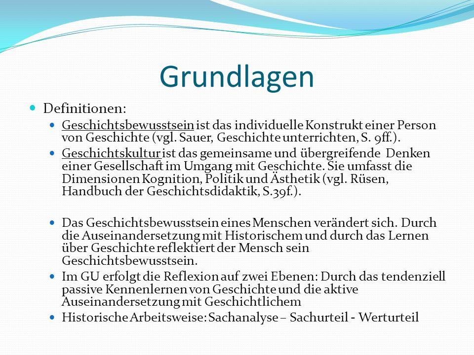 Grundlagen Definitionen: Geschichtsbewusstsein ist das individuelle Konstrukt einer Person von Geschichte (vgl. Sauer, Geschichte unterrichten, S. 9ff