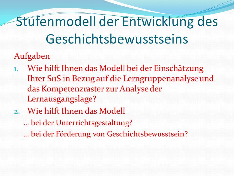 Stufenmodell der Entwicklung des Geschichtsbewusstseins Aufgaben 1. Wie hilft Ihnen das Modell bei der Einschätzung Ihrer SuS in Bezug auf die Lerngru