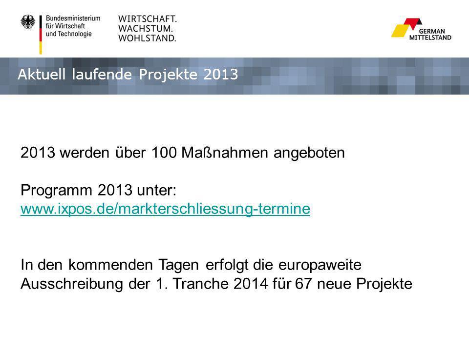 Aktuell laufende Projekte 2013 2013 werden über 100 Maßnahmen angeboten Programm 2013 unter: www.ixpos.de/markterschliessung-termine In den kommenden Tagen erfolgt die europaweite Ausschreibung der 1.