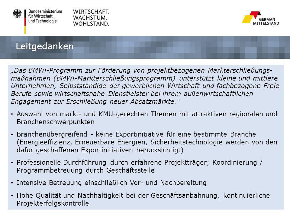 Das BMWi-Programm zur Förderung von projektbezogenen Markterschließungs- maßnahmen (BMWi-Markterschließungsprogramm) unterstützt kleine und mittlere U