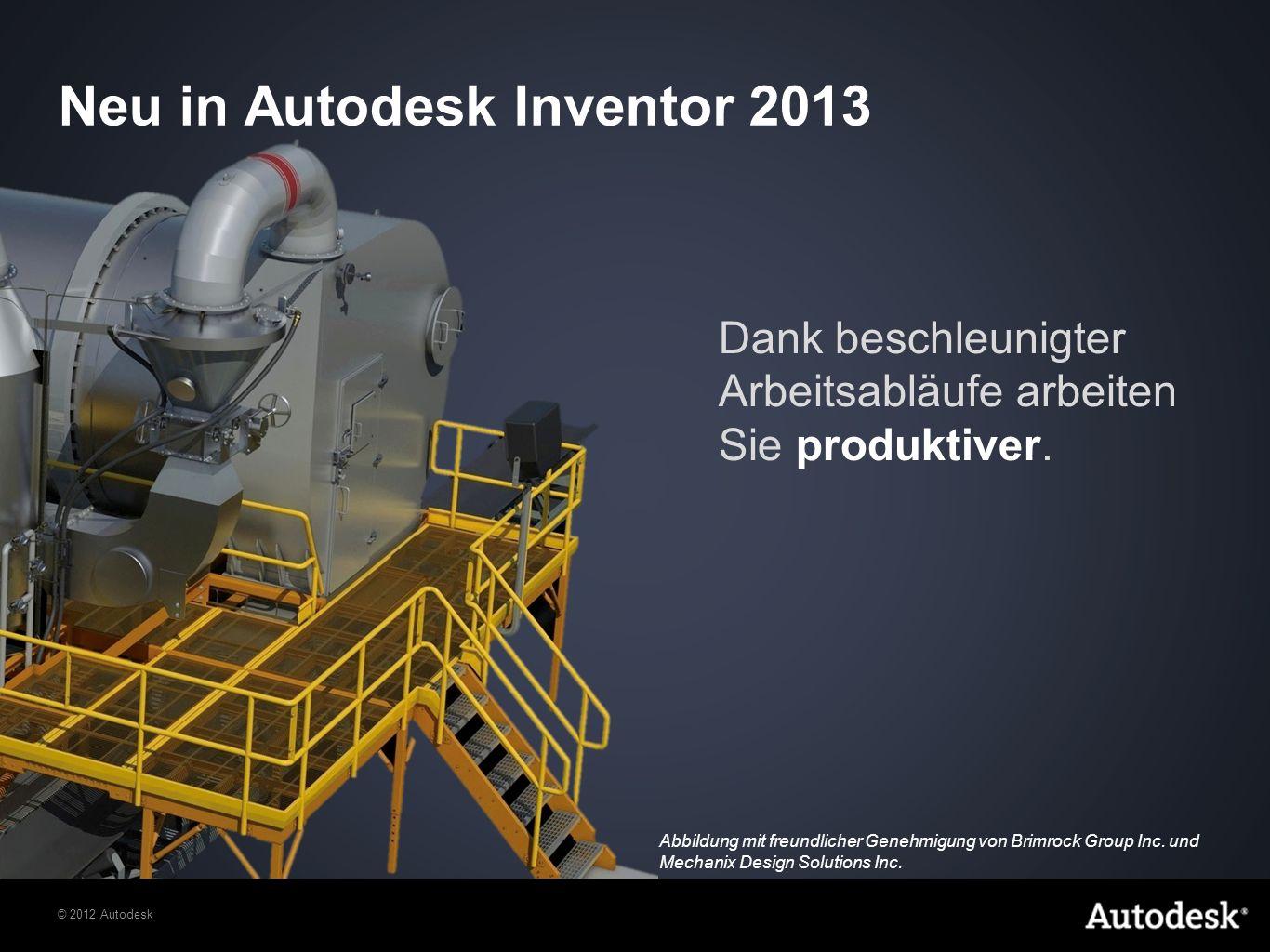 © 2012 Autodesk Autodesk Inventor 2013 – Interoperabilität Autodesk Inventor maximiert den Nutzen vorhandener Konstruktionsdaten dank einer großen Anzahl an nativen Datenschnittstellen für den Lese- und Schreibzugriff auf Dateien aus anderen CAD-Anwendungen.