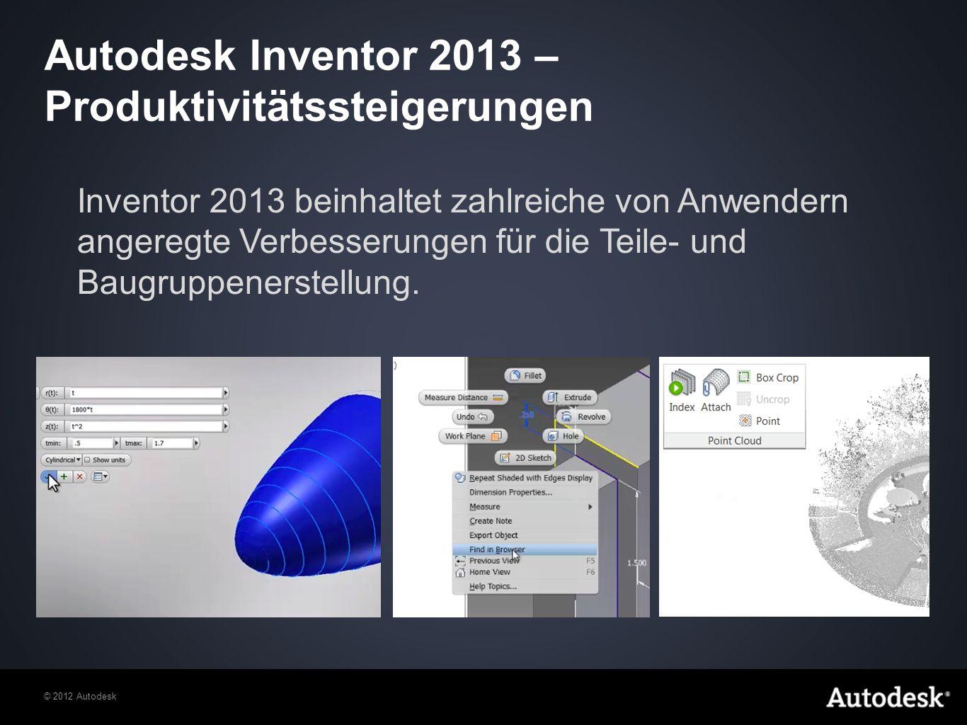 © 2012 Autodesk Inventor 2013 steigert Ihre Produktivität mit leistungsstarken neuen Skizzierfunktionen wie dem Werkzeug zum dynamischen Zuschneiden/Verlängern, der vereinfachten Erstellung von 2D- und 3D-Splines und den Funktionen für gleichungsbasierte Kurven.