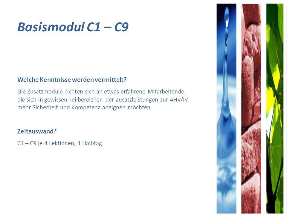 Basismodul C1 – C9 Welche Kenntnisse werden vermittelt.