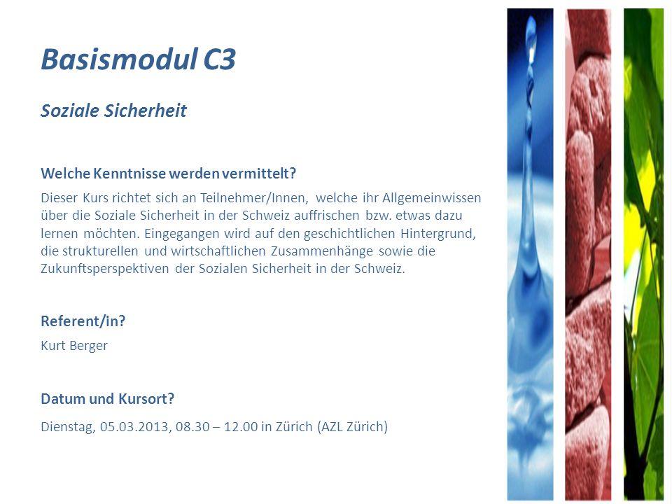 Module A – C12 - Übersicht KursThemaReferentInDatumKursortZeit Modul C9Vergleich Sozialhilfe und ELKurt BergerMO, 27.05.2013 Zürich08.30- 12.00 Modul AEinführung in die ZL zur AHV/IVPaul WettsteinMO, 16.09.2013 DI, 17.09.2013 Schwerzenbach8.30- 17.00 Modul C10Komplexe Fälle diskutieren und beurteilen Thomas Mattle / Dunja Cortellezzi FR, 20.09.2013 Zürich08:30– 12.00 Modul BZL Anwendungen in der PraxisPaul WettsteinMO, 23.09.2013 Schwerzenbach8.30- 17.00 Modul C11Entscheidredaktion (Einsprachen, Erlasse, Stellungnahmen) Diana Berger- Aschwanden DI, 24.09.2013Zürich08.30- 12.00 Modul C12Ehegüter-, ErbrechtBarbara AckeretDI, 01.10.2013Zürich08.30- 12.00 Zusatzangebot bei grosser Nachfrage Modul C1Einführung in das neue Kindes- und Erwachsenenschutzrecht und seine Organisation im Kanton Zürich Michael FelberMontag, 30.09.2013 Zürich13.30 – 17.00 Modul C5Krankheits- und Behinderungskosten für Fortgeschrittene Yvonne FaschianMittwoch, 16.10.2013 Zürich08.30- 12.00