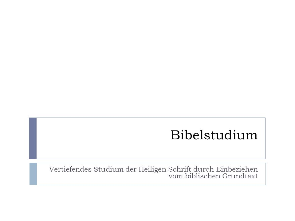 Bibelprogramme für das Studium des Grundtexts Wichtige Werkzeuge für das Arbeiten mit dem Grundtext The Word http://www.theword.gr E-Sword http://www.e-sword.net BibleStudy2009 http://www.bs2009.net Copyright © 2009, Frank Bögelsack, All rights reserved