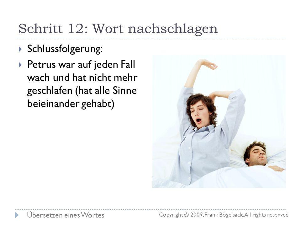 Schritt 12: Wort nachschlagen Die Wörterbuchansicht zeigt automatisch die Erklärung für das Wort (G3960) an: Deutsche Bedeutung: klopfen, pochen, angr