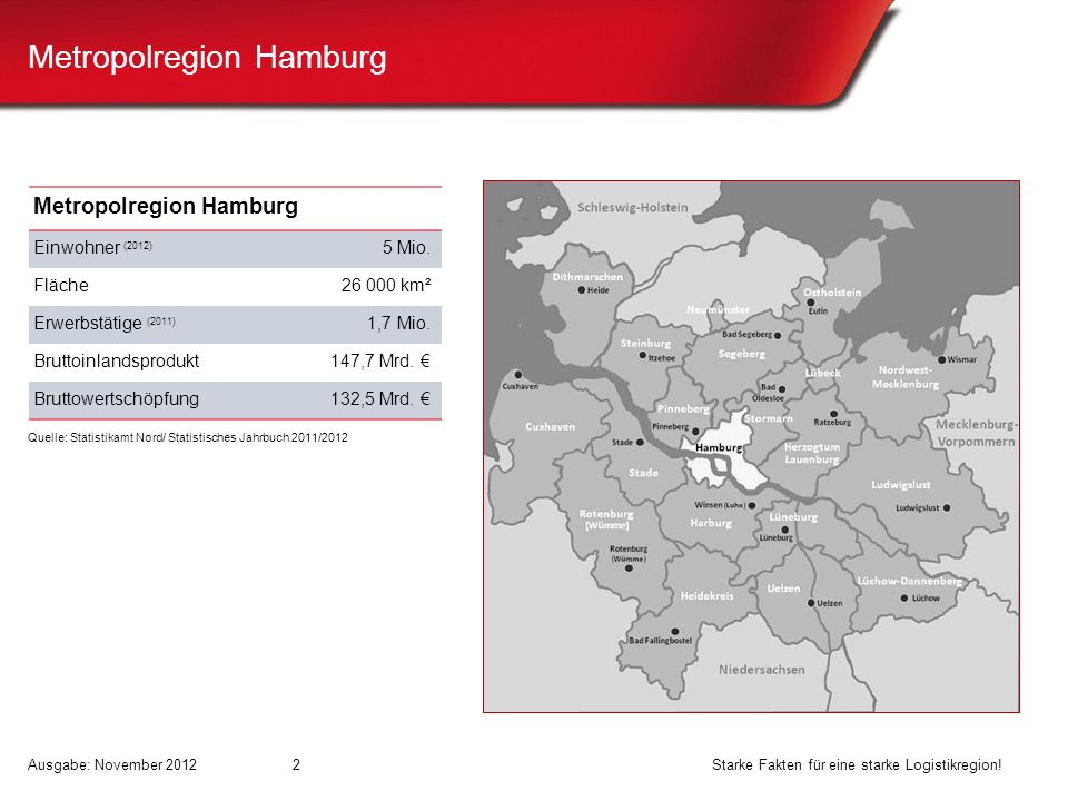 Metropolregion Hamburg Einwohner (2012) 5 Mio. Fläche26 000 km² Erwerbstätige (2011) 1,7 Mio. Bruttoinlandsprodukt147,7 Mrd. Bruttowertschöpfung132,5