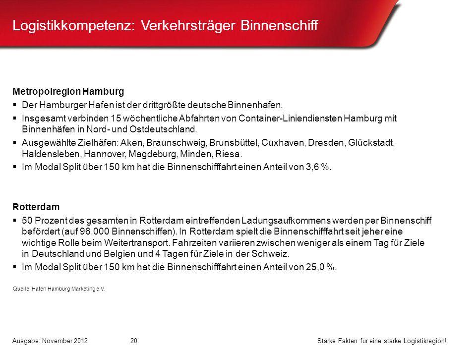 Logistikkompetenz: Verkehrsträger Binnenschiff Metropolregion Hamburg Der Hamburger Hafen ist der drittgrößte deutsche Binnenhafen. Insgesamt verbinde