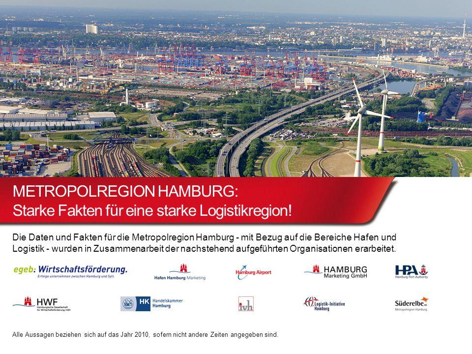 METROPOLREGION HAMBURG: Starke Fakten für eine starke Logistikregion! Alle Aussagen beziehen sich auf das Jahr 2010, sofern nicht andere Zeiten angege