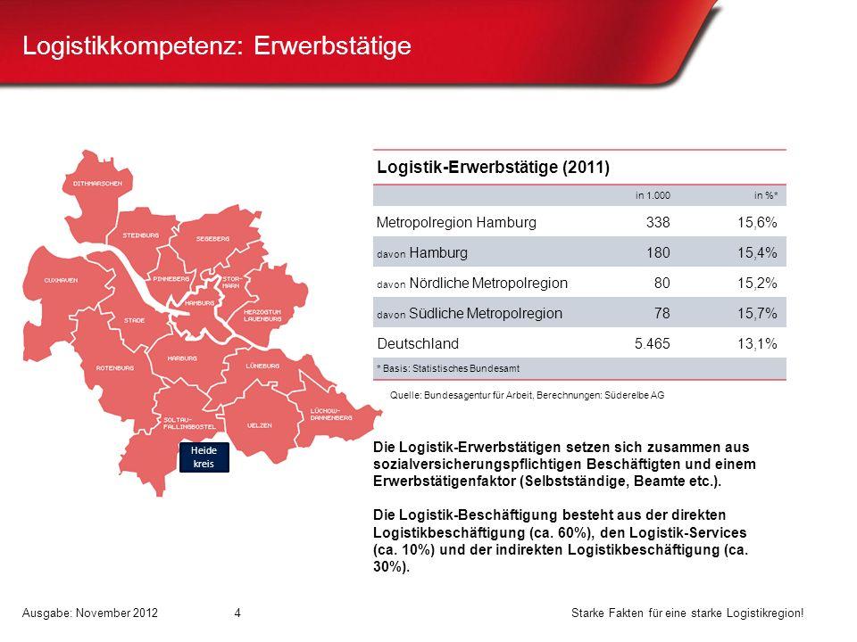Logistikkompetenz: Erwerbstätige Logistik-Erwerbstätige (2011) in 1.000in %* Metropolregion Hamburg33815,6% davon Hamburg18015,4% davon Nördliche Metr