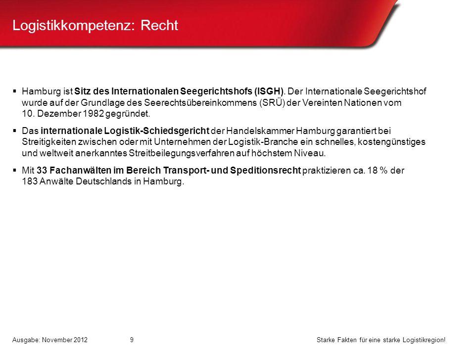 Logistikkompetenz: Recht Hamburg ist Sitz des Internationalen Seegerichtshofs (ISGH). Der Internationale Seegerichtshof wurde auf der Grundlage des Se