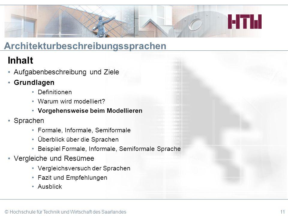 © Hochschule für Technik und Wirtschaft des Saarlandes11 Architekturbeschreibungssprachen Inhalt Aufgabenbeschreibung und Ziele Grundlagen Definitione