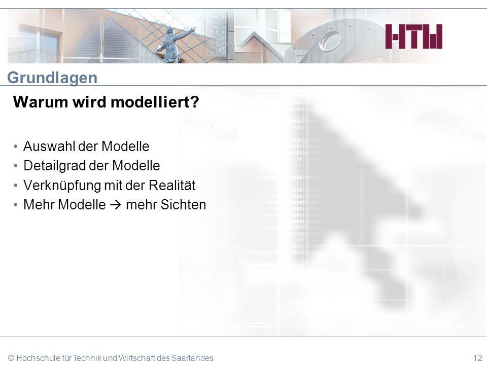 Grundlagen Warum wird modelliert? Auswahl der Modelle Detailgrad der Modelle Verknüpfung mit der Realität Mehr Modelle mehr Sichten © Hochschule für T