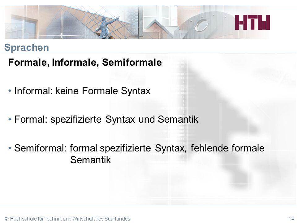 Sprachen Formale, Informale, Semiformale Informal: keine Formale Syntax Formal: spezifizierte Syntax und Semantik Semiformal: formal spezifizierte Syn