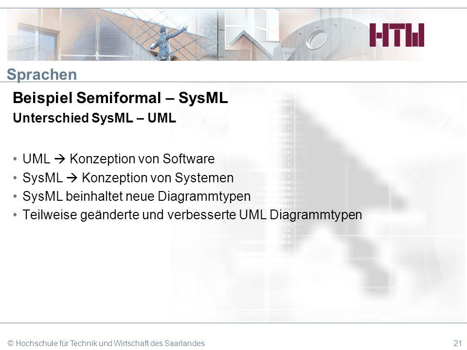 Sprachen Beispiel Semiformal – SysML Unterschied SysML – UML UML Konzeption von Software SysML Konzeption von Systemen SysML beinhaltet neue Diagrammt