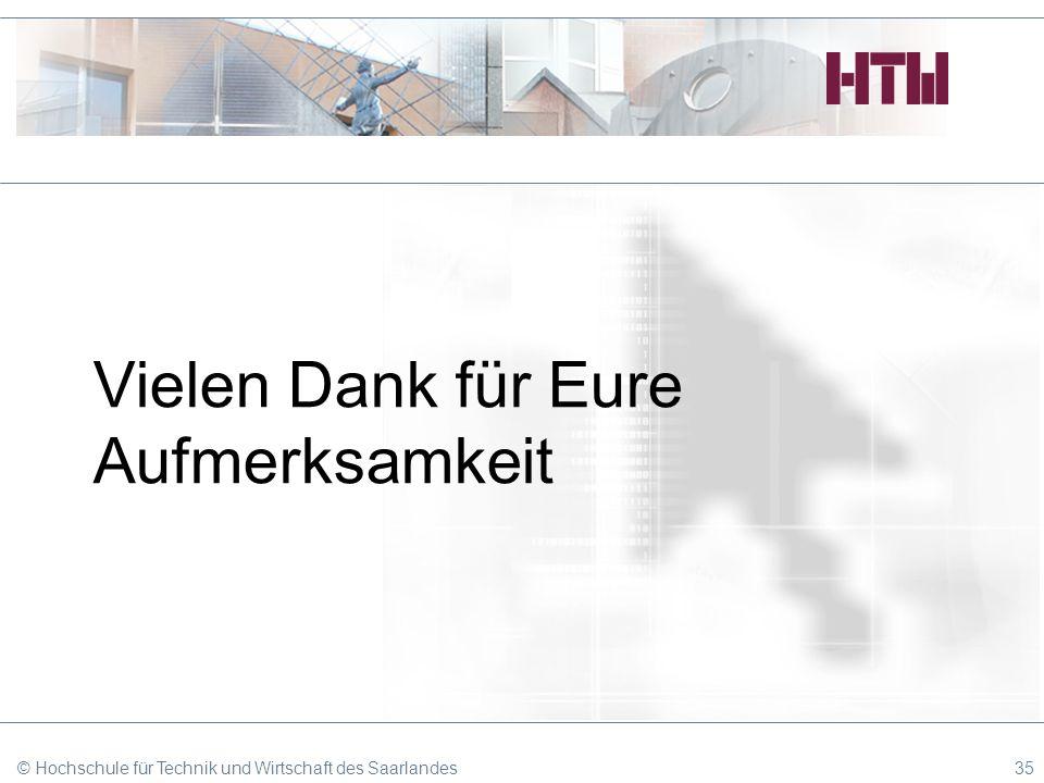 Vielen Dank für Eure Aufmerksamkeit © Hochschule für Technik und Wirtschaft des Saarlandes35