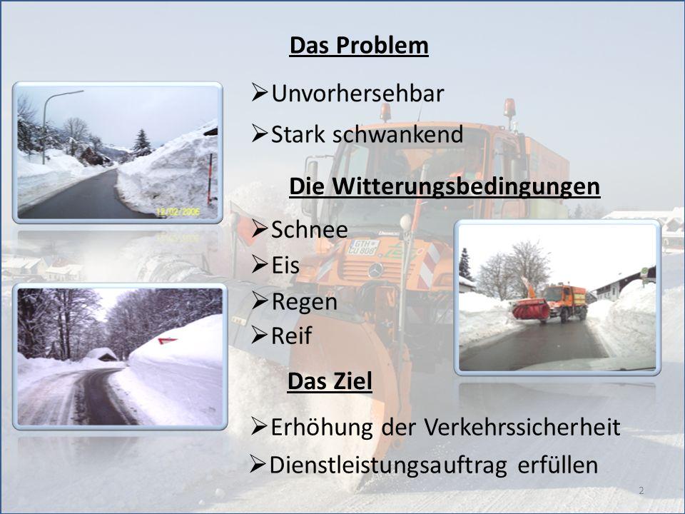 2 Das Problem Die Witterungsbedingungen Das Ziel Erhöhung der Verkehrssicherheit Dienstleistungsauftrag erfüllen