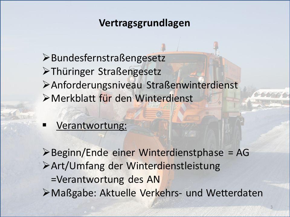 3 Vertragsgrundlagen Bundesfernstraßengesetz Thüringer Straßengesetz Anforderungsniveau Straßenwinterdienst Merkblatt für den Winterdienst Verantwortu