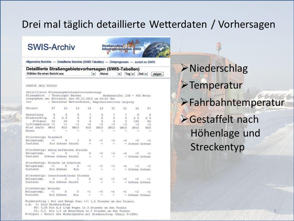 5 Drei mal täglich detaillierte Wetterdaten / Vorhersagen Niederschlag Temperatur Fahrbahntemperatur Gestaffelt nach Höhenlage und Streckentyp