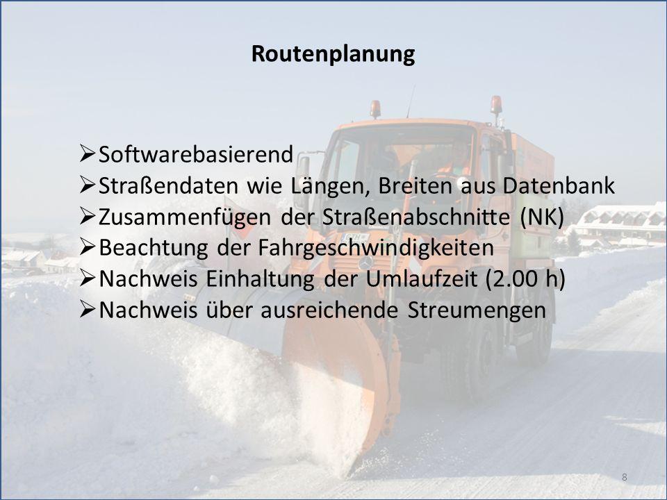8 Routenplanung Softwarebasierend Straßendaten wie Längen, Breiten aus Datenbank Zusammenfügen der Straßenabschnitte (NK) Beachtung der Fahrgeschwindi