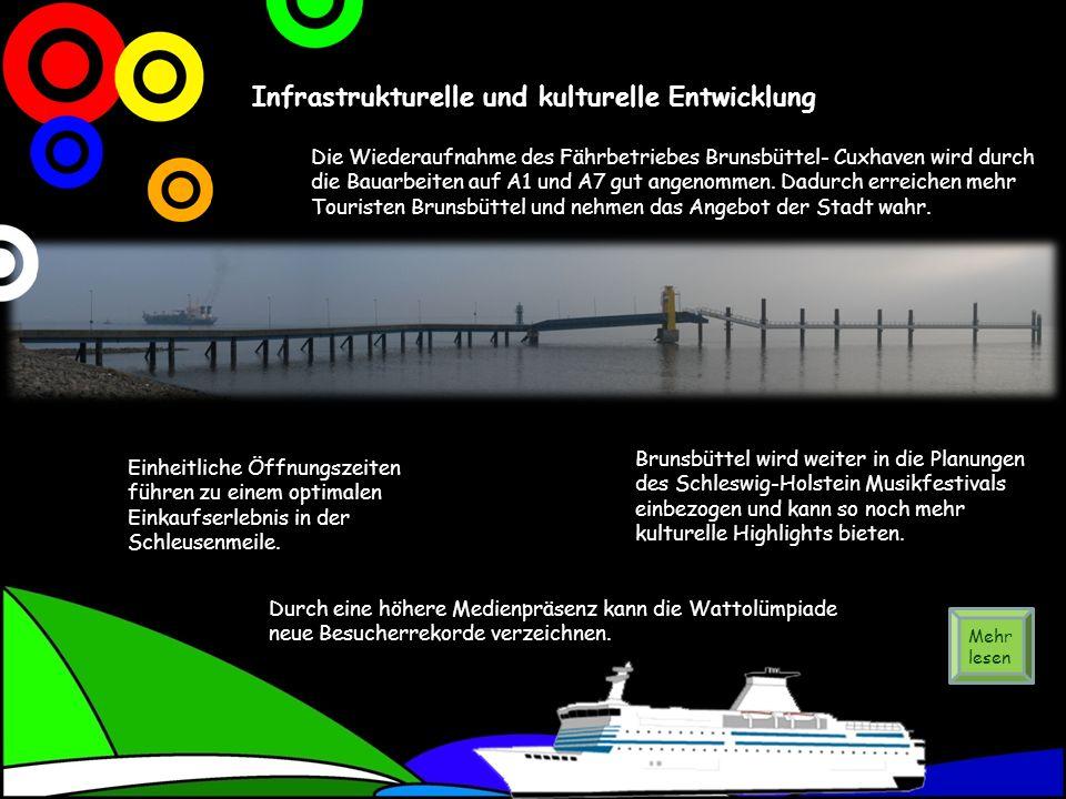 Infrastrukturelle und kulturelle Entwicklung Die Wiederaufnahme des Fährbetriebes Brunsbüttel- Cuxhaven wird durch die Bauarbeiten auf A1 und A7 gut angenommen.