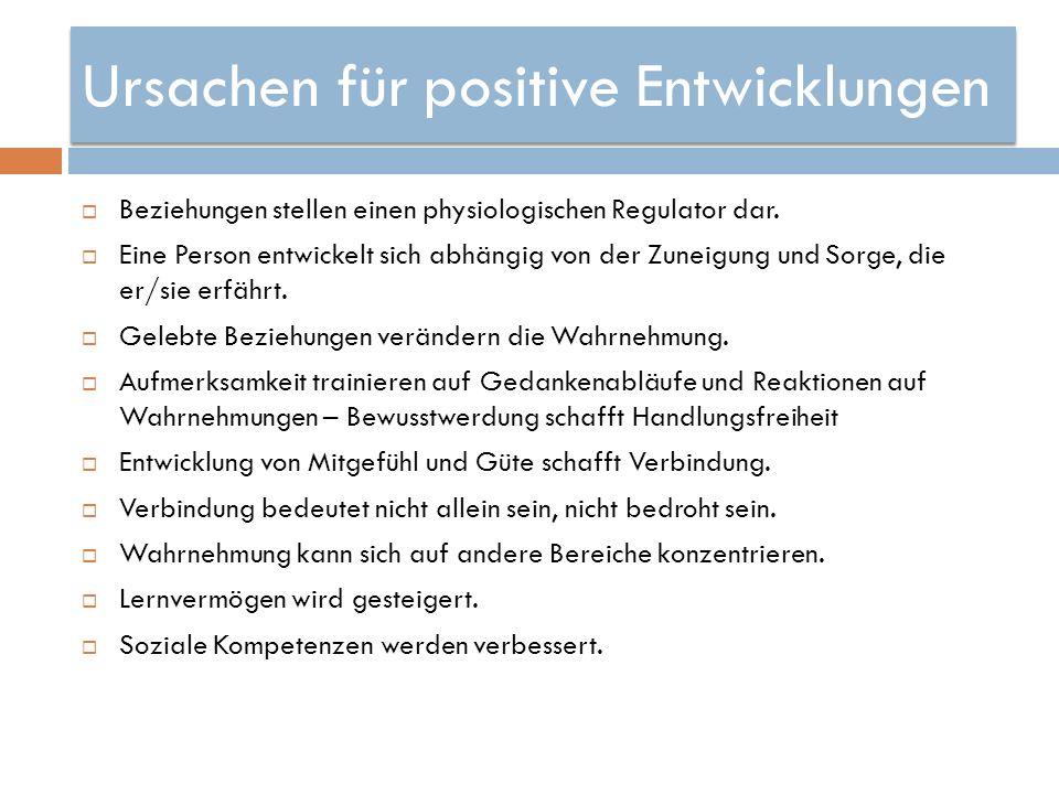 Ursachen für positive Entwicklungen Beziehungen stellen einen physiologischen Regulator dar. Eine Person entwickelt sich abhängig von der Zuneigung un