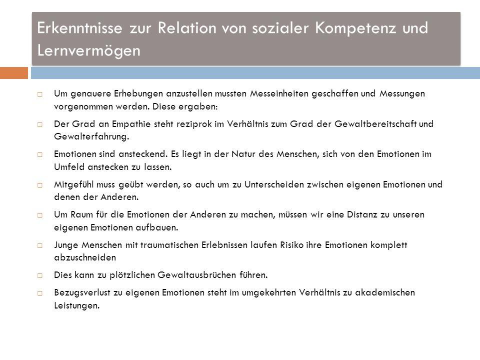 Erkenntnisse zur Relation von sozialer Kompetenz und Lernvermögen Um genauere Erhebungen anzustellen mussten Messeinheiten geschaffen und Messungen vo