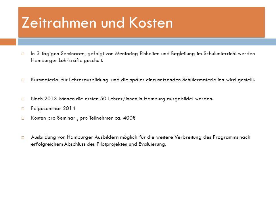 Zeitrahmen und Kosten In 3-tägigen Seminaren, gefolgt von Mentoring Einheiten und Begleitung im Schulunterricht werden Hamburger Lehrkräfte geschult.