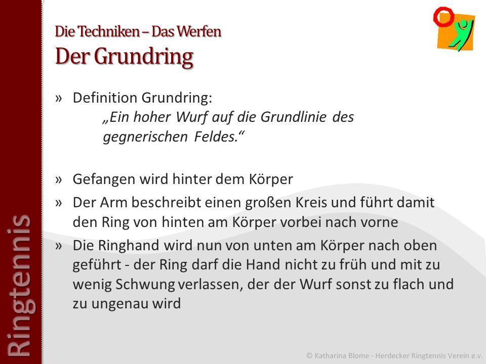 Die Techniken – Das Werfen Der Grundring »Definition Grundring: Ein hoher Wurf auf die Grundlinie des gegnerischen Feldes.