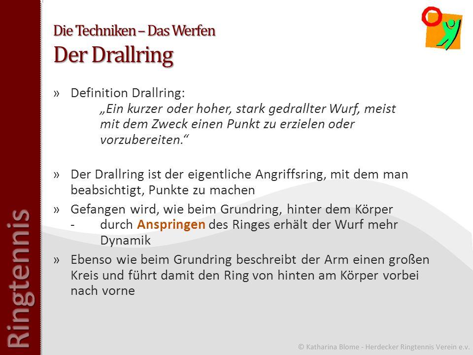 Die Techniken – Das Werfen Der Drallring »Definition Drallring: Ein kurzer oder hoher, stark gedrallter Wurf, meist mit dem Zweck einen Punkt zu erzielen oder vorzubereiten.