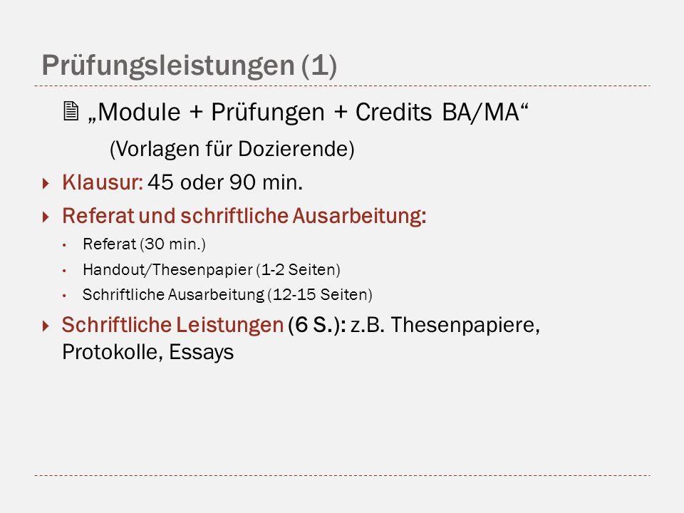 Prüfungsleistungen (1) Module + Prüfungen + Credits BA/MA (Vorlagen für Dozierende) Klausur: 45 oder 90 min.