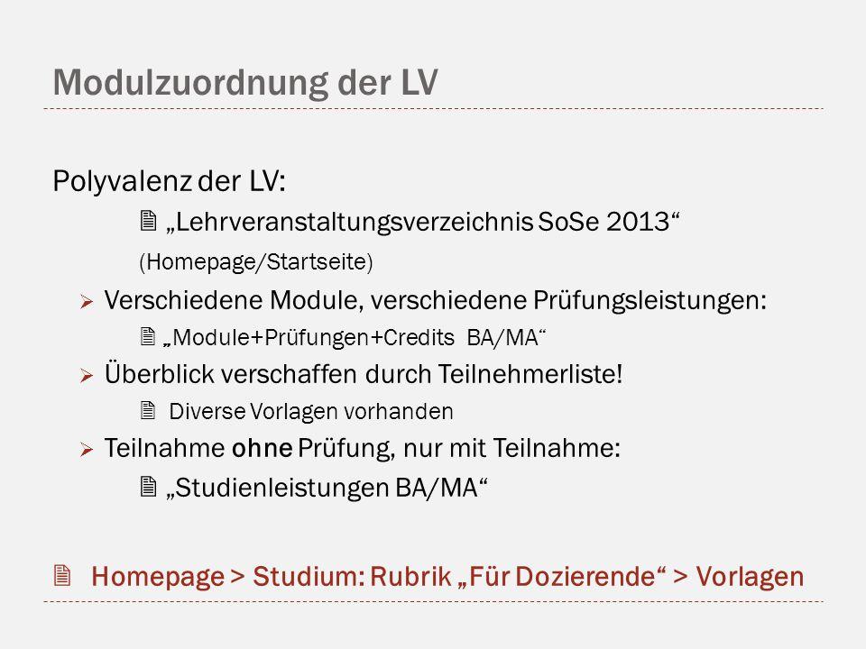 Modulzuordnung der LV Polyvalenz der LV: Lehrveranstaltungsverzeichnis SoSe 2013 (Homepage/Startseite) Verschiedene Module, verschiedene Prüfungsleistungen: Module+Prüfungen+Credits BA/MA Überblick verschaffen durch Teilnehmerliste.
