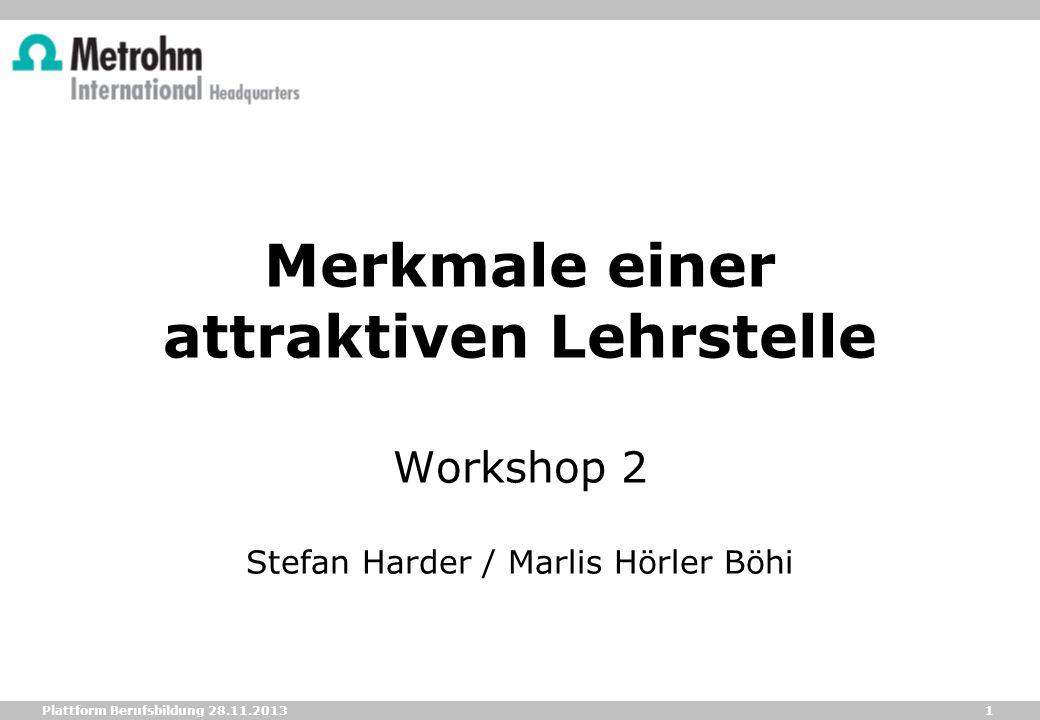 1 Plattform Berufsbildung 28.11.2013 Merkmale einer attraktiven Lehrstelle Workshop 2 Stefan Harder / Marlis Hörler Böhi