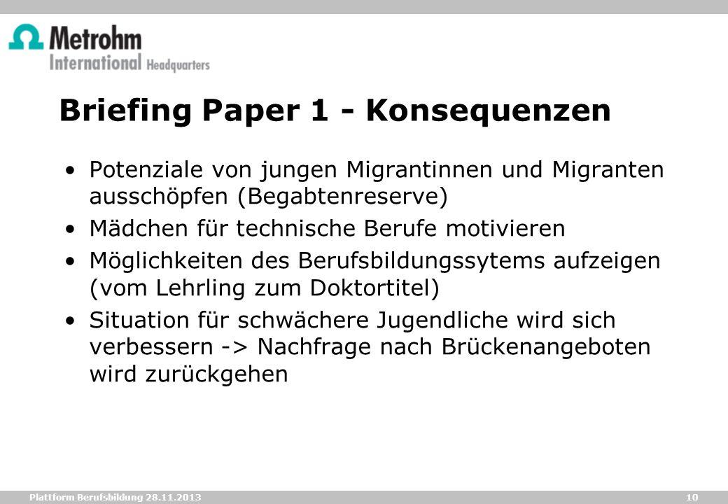 10 Plattform Berufsbildung 28.11.2013 Briefing Paper 1 - Konsequenzen Potenziale von jungen Migrantinnen und Migranten ausschöpfen (Begabtenreserve) M