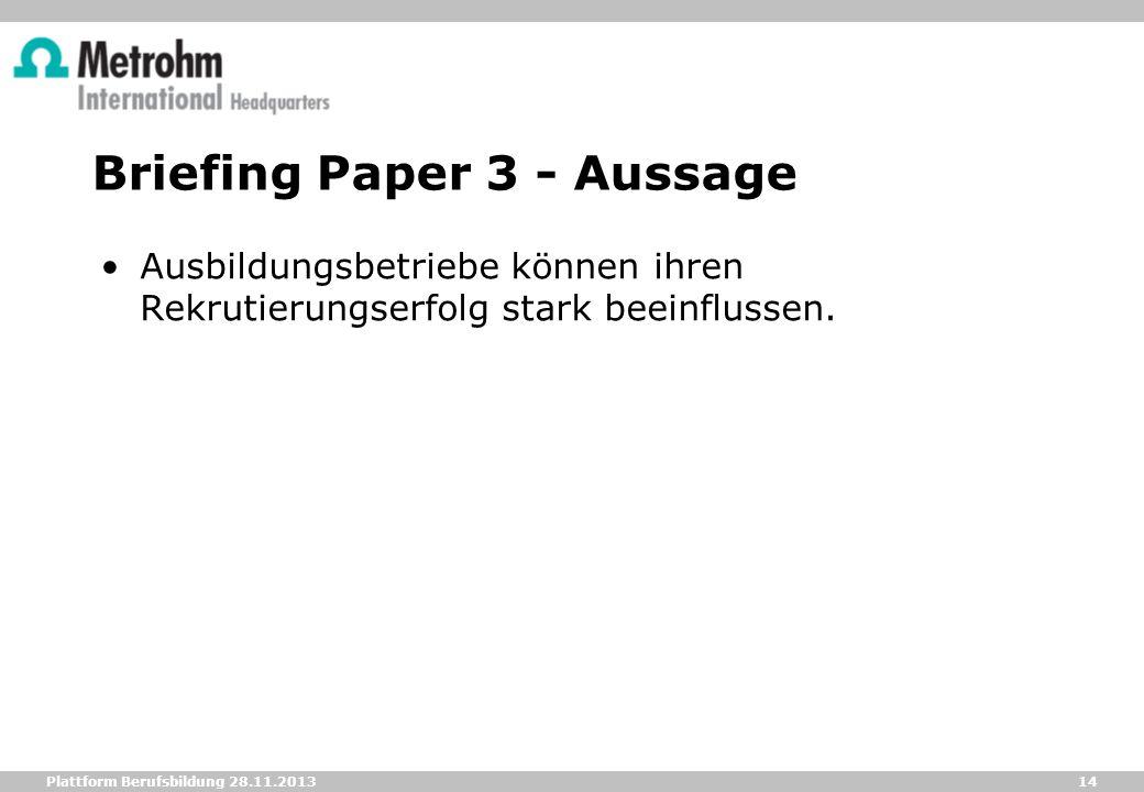 14 Plattform Berufsbildung 28.11.2013 Briefing Paper 3 - Aussage Ausbildungsbetriebe können ihren Rekrutierungserfolg stark beeinflussen.