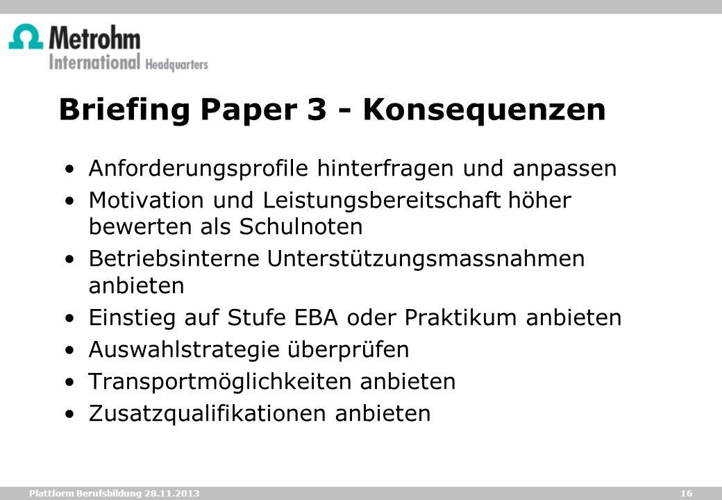 16 Plattform Berufsbildung 28.11.2013 Briefing Paper 3 - Konsequenzen Anforderungsprofile hinterfragen und anpassen Motivation und Leistungsbereitscha