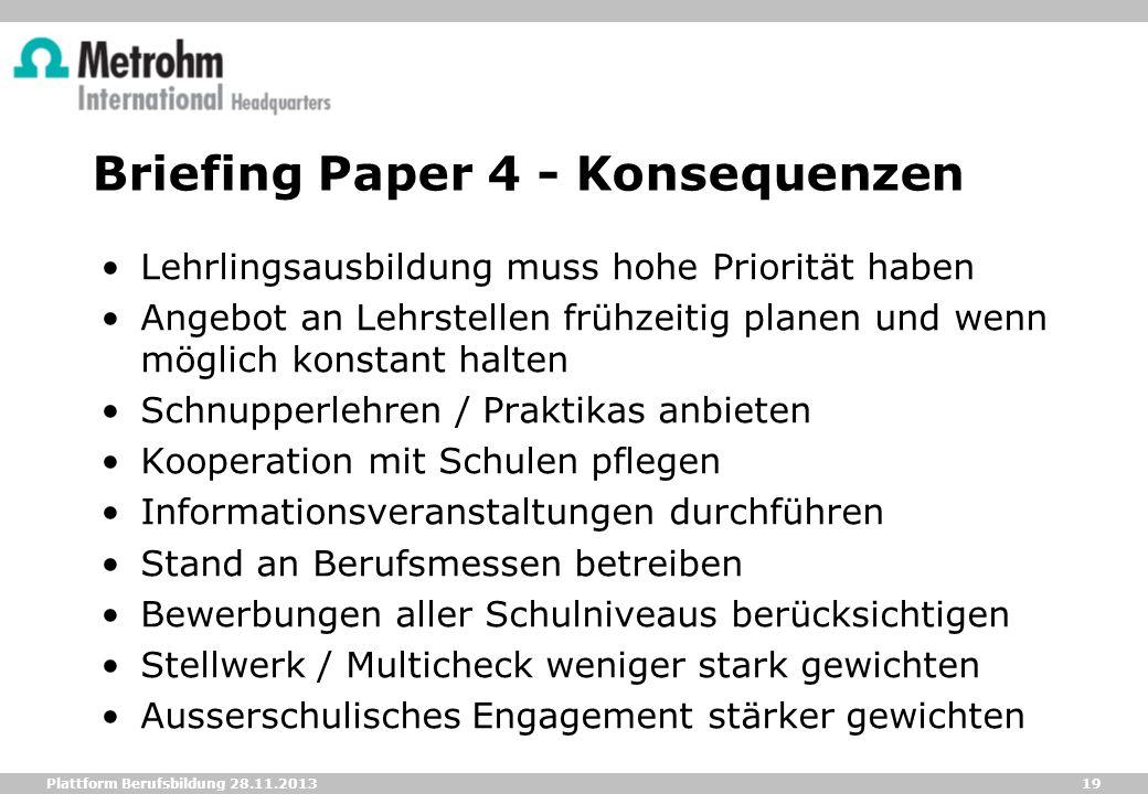 19 Plattform Berufsbildung 28.11.2013 Briefing Paper 4 - Konsequenzen Lehrlingsausbildung muss hohe Priorität haben Angebot an Lehrstellen frühzeitig