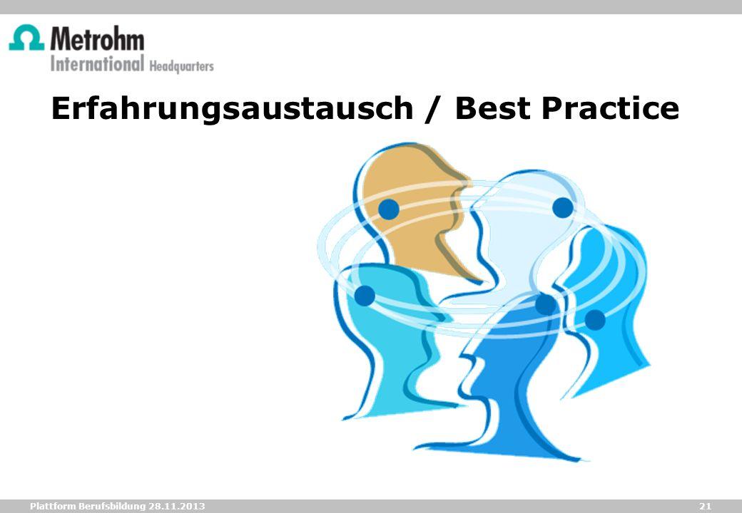 21 Plattform Berufsbildung 28.11.2013 Erfahrungsaustausch / Best Practice