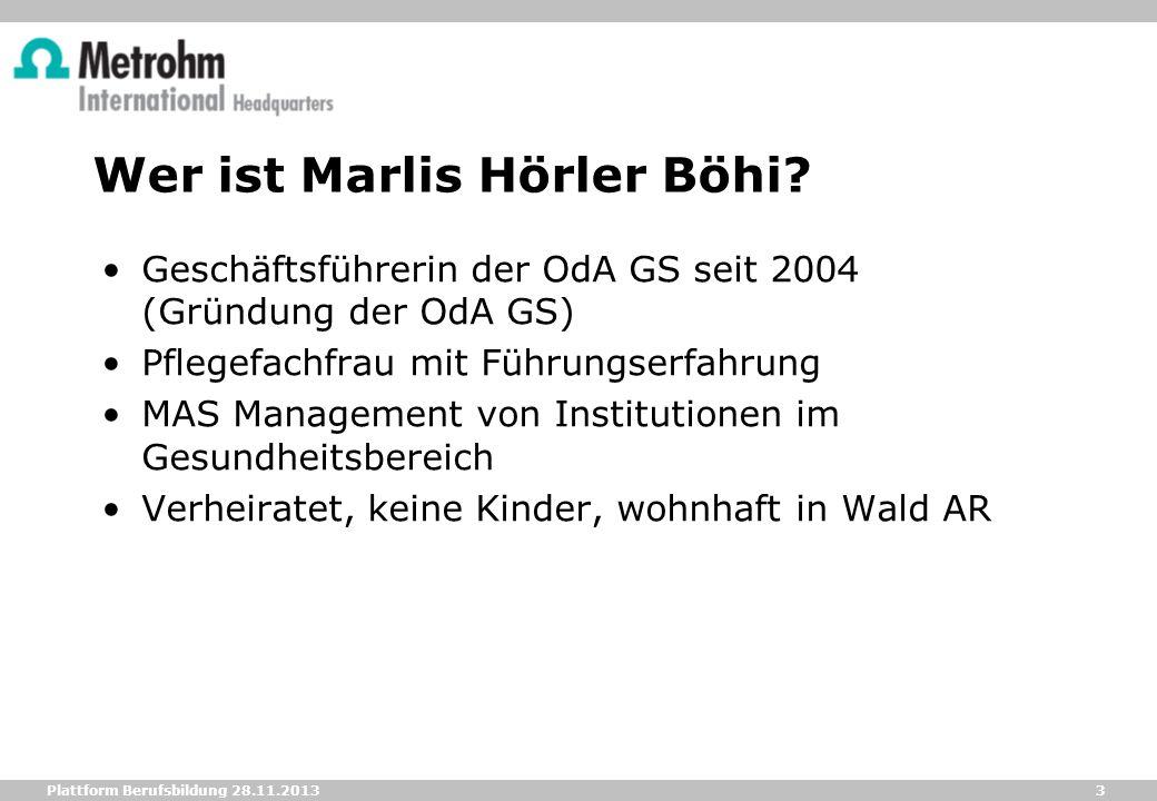 3 Plattform Berufsbildung 28.11.2013 Wer ist Marlis Hörler Böhi? Geschäftsführerin der OdA GS seit 2004 (Gründung der OdA GS) Pflegefachfrau mit Führu